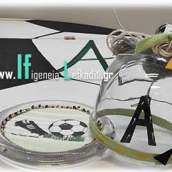 Συσκευασία πολυτελείας για τον βαπτιστικό σταυρό με αρχικό ονόματος  «Ποδόσφαιρο football»