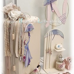 Ρομαντικό Σετ βάπτισης για κορίτσι με βαλίτσα Mary Poppins