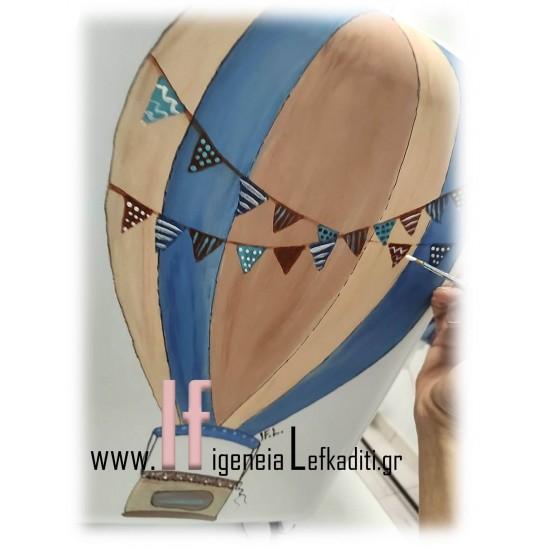 """Σετ βάπτισης για αγόρι """"Αερόστατο"""" με βαλίτσα ζωγραφισμένη στο χέρι"""
